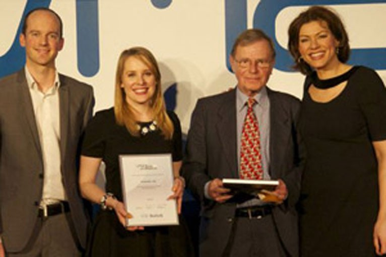 From left, Justin Phillips, the 2013 winner, Amanda Melvin, the 2014 winner, Malcolm Bridges, from British Dairying magazine and Kate Silverton, BBC presenter and host of the 2013 awards.