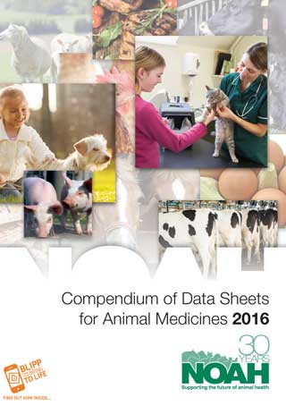 The cover of the 2016 NOAH Compendium of Data Sheets for Animal Medicines.
