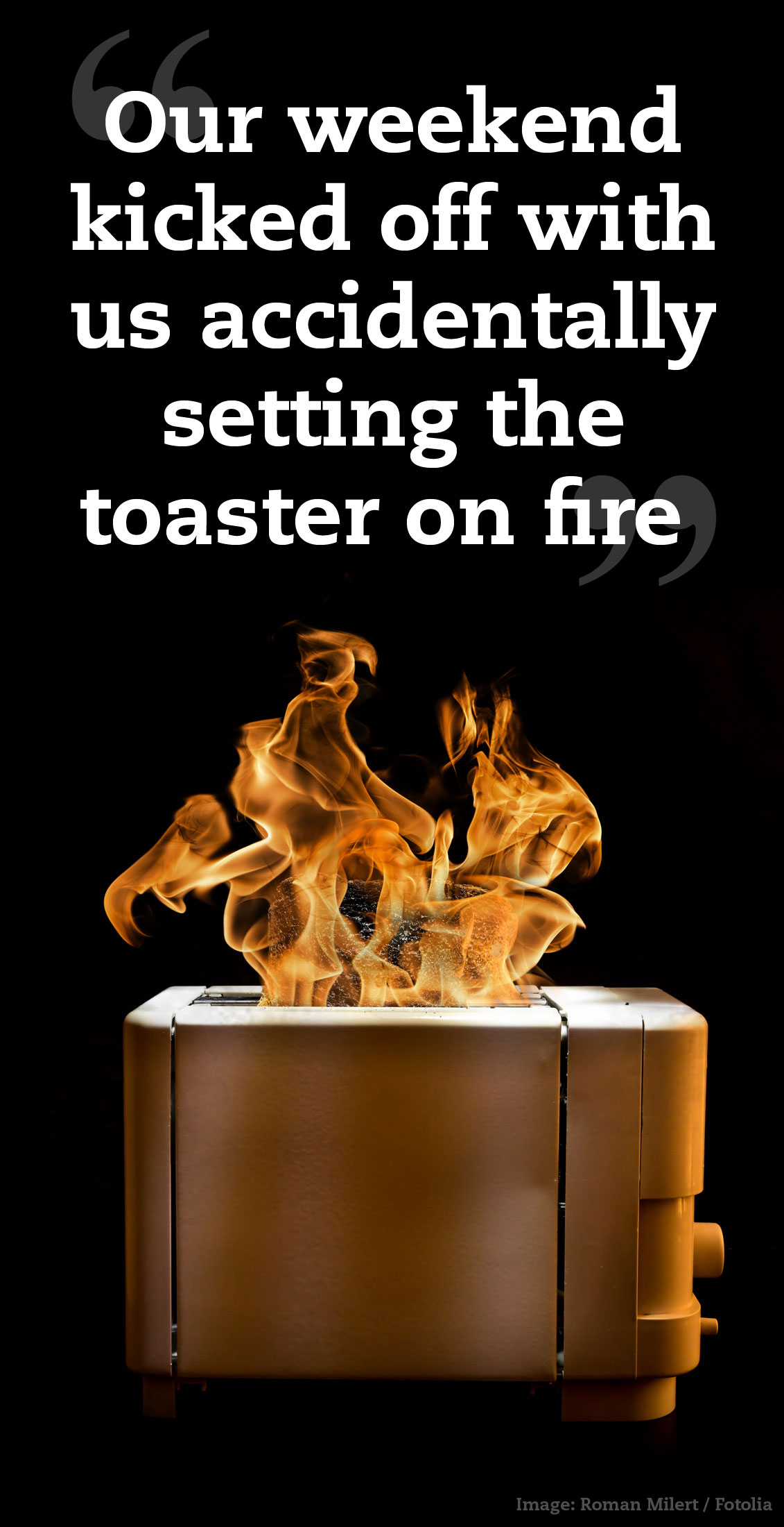 Toaster On Fire ~ Work hard play vet times