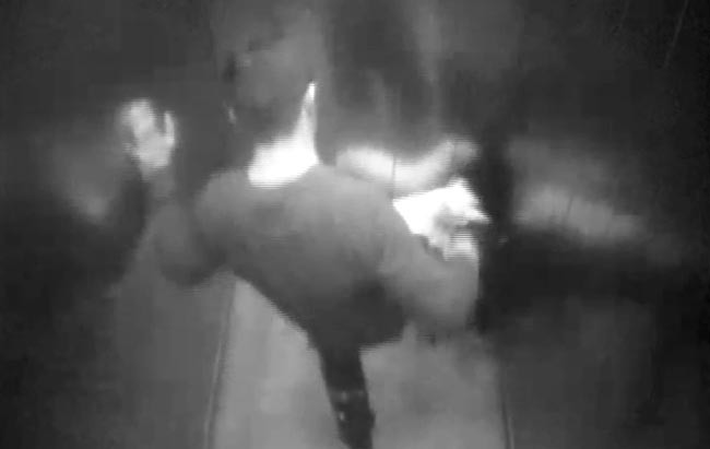 Besmur Idrizi was caught on CCTV kicking his partner's dog in a lift. Image: RSPCA.