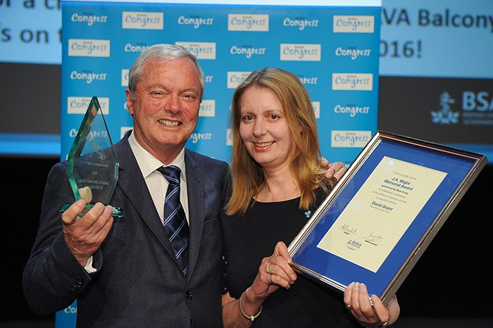 David Grant received the JA Wight Memorial Award – presented by Blue Cross to recognise outstanding contributions to the welfare of companion animals.
