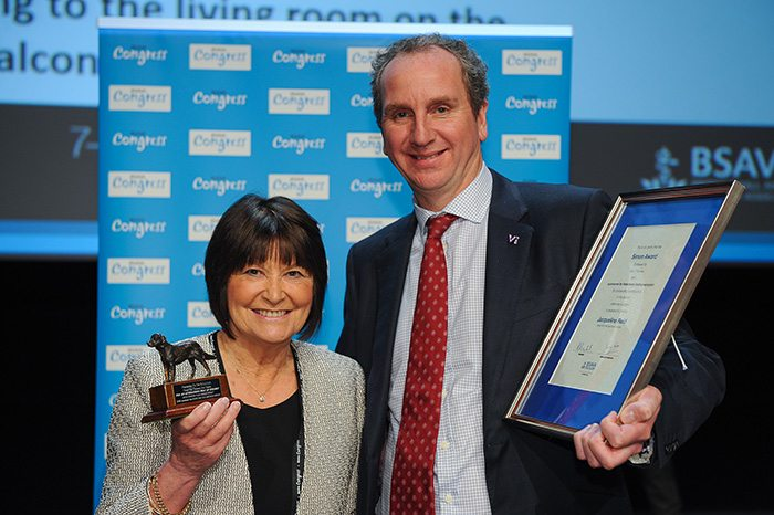 Jacqueline Reid was presented with the Simon Award, which is bestowed on a member of the BSAVA for outstanding contributions in the field of veterinary surgery.