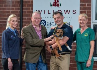 From left: receptionist Larissa Domini, Graham Evans MP, clinical director Bruce Waddell and head veterinary nurse Clare Sutton with Alfie.