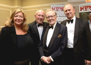 World of James Herriot dinner. From left: Carol Drinkwater, Christopher Timothy, Robert Hardy and Peter Davison.