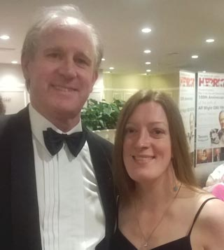 Reporter Holly Kernot with Peter Davison.