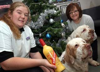Tipsy pair Oscar and Martha (clumber Spaniels) with owner Fiona Robson and Prince Bishop vet Emma Hindson.