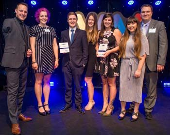 Danny Crates, Rebecca Hubbard (VN Times editor) and Paul Imrie (right, Veterinary Times editor) presenting the PR Award to the PR teams from Bayer and Pegasus.