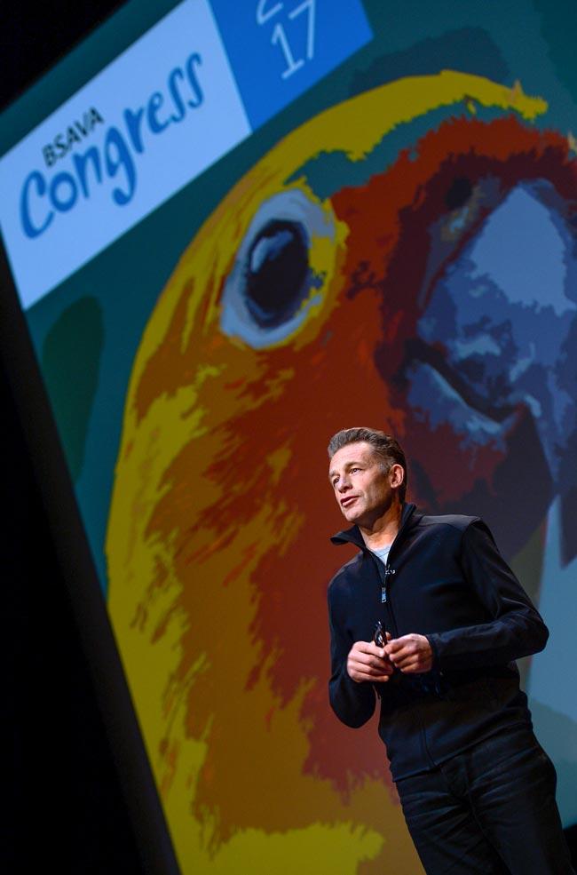 Chris Packham speaking during the keynote lecture at BSAVA Congress. IMAGE: Steve Burden.