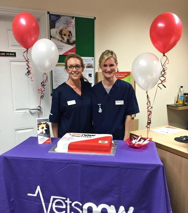 Lizzie Sharples (left), principal vet, and Gemma Pitt, principal nurse manager, celebrate opening Vets Now Chippenham.