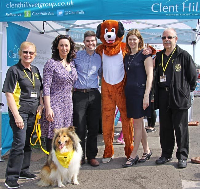 From left: Jackie Medler with Merryn, Rebekka Fiorani, Will Trewarman, Dan the Dog, Amy Holloway and Keith Medler.