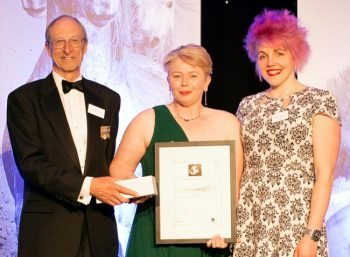 VN of the Year Samantha Shand (centre) with head judge Chris Laurence and VN Times editor Rebecca Hubbard.