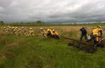 Fire and rescue crews from Malton, Masham and Leyburn formed a human tug o' war team to try to pull the animal free. IMAGE: ©@NorthYorksFire.