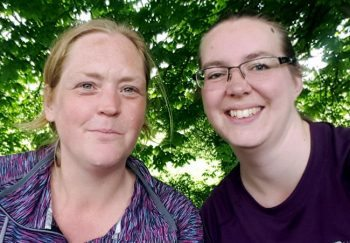 "Katherine Howie (left) and Sophie Bedford on a recent ""marathon"" training walk along the Meon Valley Trail in Hampshire."