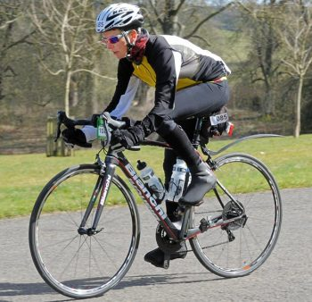 Penny Barker is racing across America to raise funds for the British Heart Foundation and Hounds for Heroes.