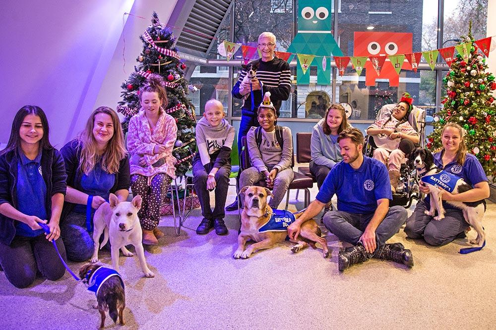 4-legged mates begin festivities at kids's hospital