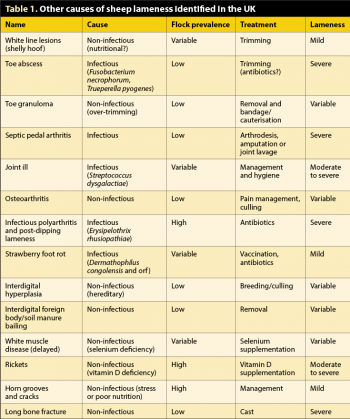 Table 1. Other causes of sheep lameness identified in the UK.