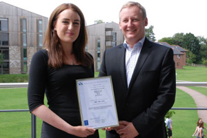 Suzanne McDonagh and Professor Stuart Reid with the ISO14001 Certificate of Registration