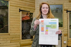 Alison Pilgrim with her winning design, which demonstrated creativity and practicality.
