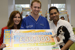 Judie McCourt from the Postcode Lottery, PDSA vet Sean Wensley and X Factor star Danyl Johnson