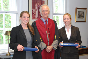 (L-R): Captain Nicola Housby-Skeggs, vice president of the RCVS Peter Jinman and captain Claire Budge
