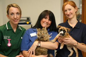L-R: Claire Watters (VN), Karen Ethier and Holly Mitchell with Poppy the cat and Angel the rescue dog.