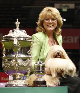 2012 Best in Show, Elizabeth (Ch. Zentarr Elizabeth) the Lhasa Apso and owner Margaret Anderson.
