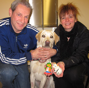 Dog owners Marion and Neale Stribling with Chester and the toys he swallowed.