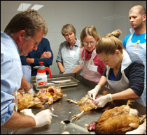 Chicken Vet training weekend, delegates and staff in St David's    post mortem suite
