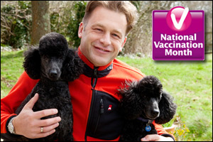 NVM backer Chris Packham with his poodles Itchy and Scratchy.