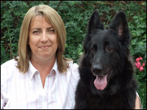 Debbie Connolly with a rescued German Shepherd called Midnight