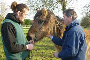 Dominic Owsiany (groom at The Horse Trust) and Julian Samuelson (trustee) prepare to vaccinate Billy, one of the residents at the sanctuary.