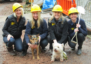 [L-R] Dogs Trust Ilfracombe staff Louise Round (head of supporter relations), Karen Blacker (assistant manager), Claire Joselin (supporter relations manager) and Pam Stow (manager) with rescue dogs Frankie the black & tan crossbreed and Milly the Westie.