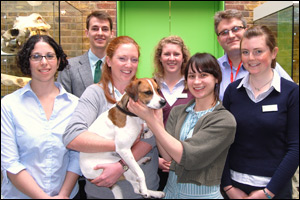 L-R (front): Nicole Hashash, Cerrie Perrett (with Finn the dog, about to have his teeth checked), Jade Searle, Helen Tyler.  L-R (back): Andrew Ayers, Jessica May, Jim Gazzard