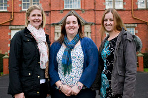 The new staff at Harper Adams University College (L-R: Lucy Evans, Beth Roberts and Elizabeth Gilbert)