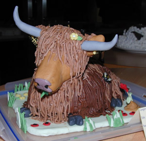 Henrietta the Highland cow giving birth - in cake form.