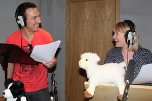 Joanna Page and James Thornton record their voiceover for the Pelog ad.