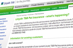 Lloyds TSB Pet Insurance - what's happening?