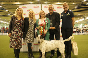 Last year's winner Milo, with his owners and Scruffts judges, including actor Anthony Head