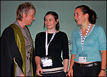 Nicky Paul (L) with Abigail Collinson (centre) and Catherine Wilson (R)