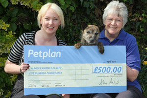 Petplan Business Developer Pauline Wellbelove with Joanne Cooper, centre manager of Alsager Animal in Need.