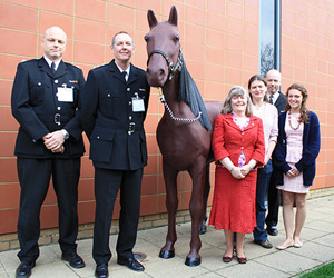 "From left to right:  LFB Group Manager Andy Cane, LFB Station Manager Mark Spier, ""Fireman Sam"" the mannequin horse, Vivienne Heys, Victoria Wyse (student), LFB Watch Manager Jim Wennell, Emma Howson (student)"