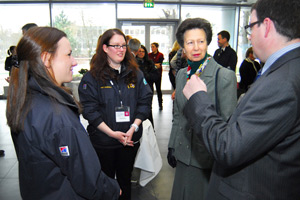 Princess Anne meets Prof Argyle, head of the Royal Dick, along with some students.