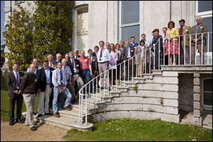 40 local vets and farmers celebrate the launch of the RVC Regional Veterinary Centre at Kingston Maurward House.