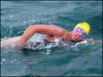 Sarah completed her  cross-channel swim in 16 hours 49 minutes