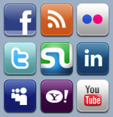 A selection of social media buttons by Quake9 Design.