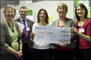 Conference organisers hand over a cheque of £10,000 to representatives of Children's Hospice South West. [L-R]: Jill Sharpless (CHSW Hayle Friends Group), Colin Whiting (vet), Carol Knight (Duchy College), Mary Murfin (CHSW) and Helen Harris (Duchy College)