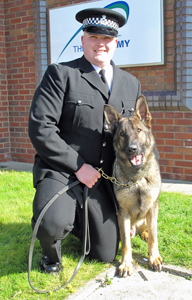 Merseyside police dog Tex with constable Paul Hughes.