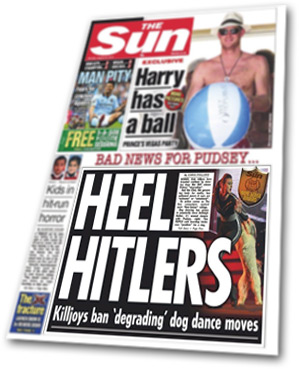 The Sun newspaper described the Kennel Club as 'Heel Hitlers'.
