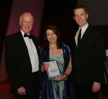 [L-R] BVA president 2010/2011 Harvey Locke, Vet of the Year winner Alison Laurie, and awards compere, comedian Alun Cochrane.