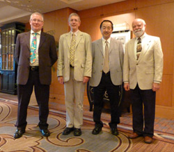 Members of the VGG meet in Tokyo. L-R: Richard Squires (James Cook University, Australia), Michael J. Day (University of Bristol and chairman), Hajime Tsujimoto (University of Tokyo) and Ron Schultz (University of Wisconsin-Madison).